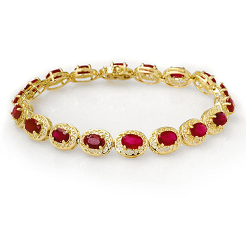 12.75 ctw Ruby Bracelet 10K Yellow Gold - REF-118W2H - SKU:11690