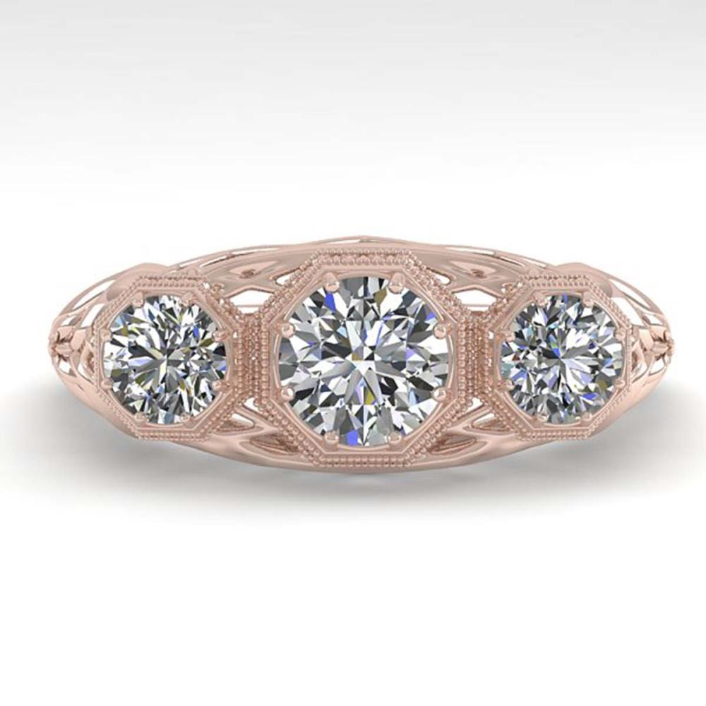 1.00 ctw Past Present Future VS/SI Diamond Ring 18K Rose Gold - REF-162K9W - SKU:36056