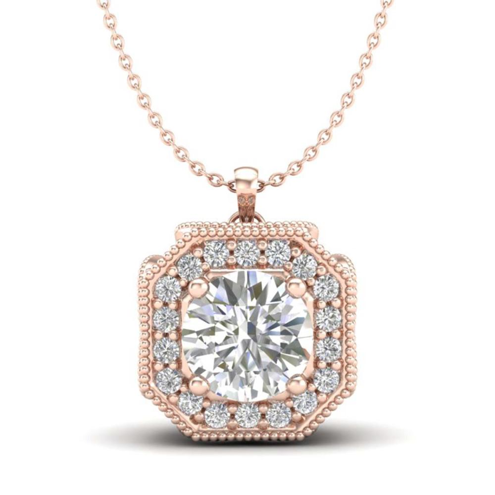 1.54 ctw VS/SI Diamond Solitaire Art Deco Necklace 18K Rose Gold - REF-409R3K - SKU:37326