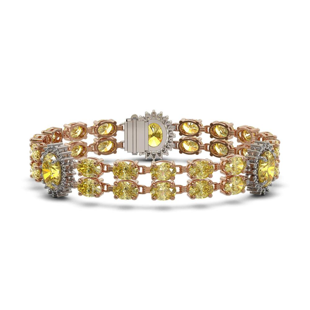 27.35 ctw Citrine & Diamond Bracelet 14K Rose Gold - REF-213H3M - SKU:44439