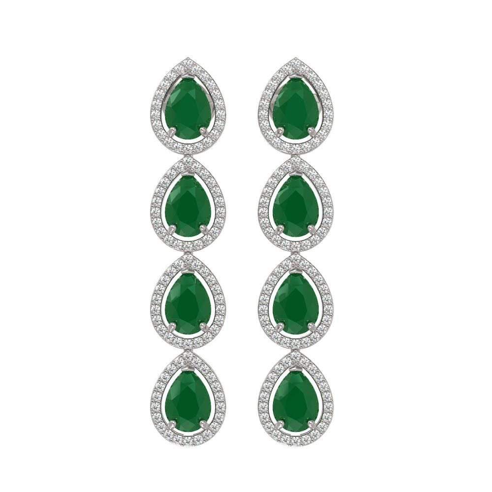 10.2 ctw Emerald & Diamond Halo Earrings 10K White Gold - REF-155V5Y - SKU:41138