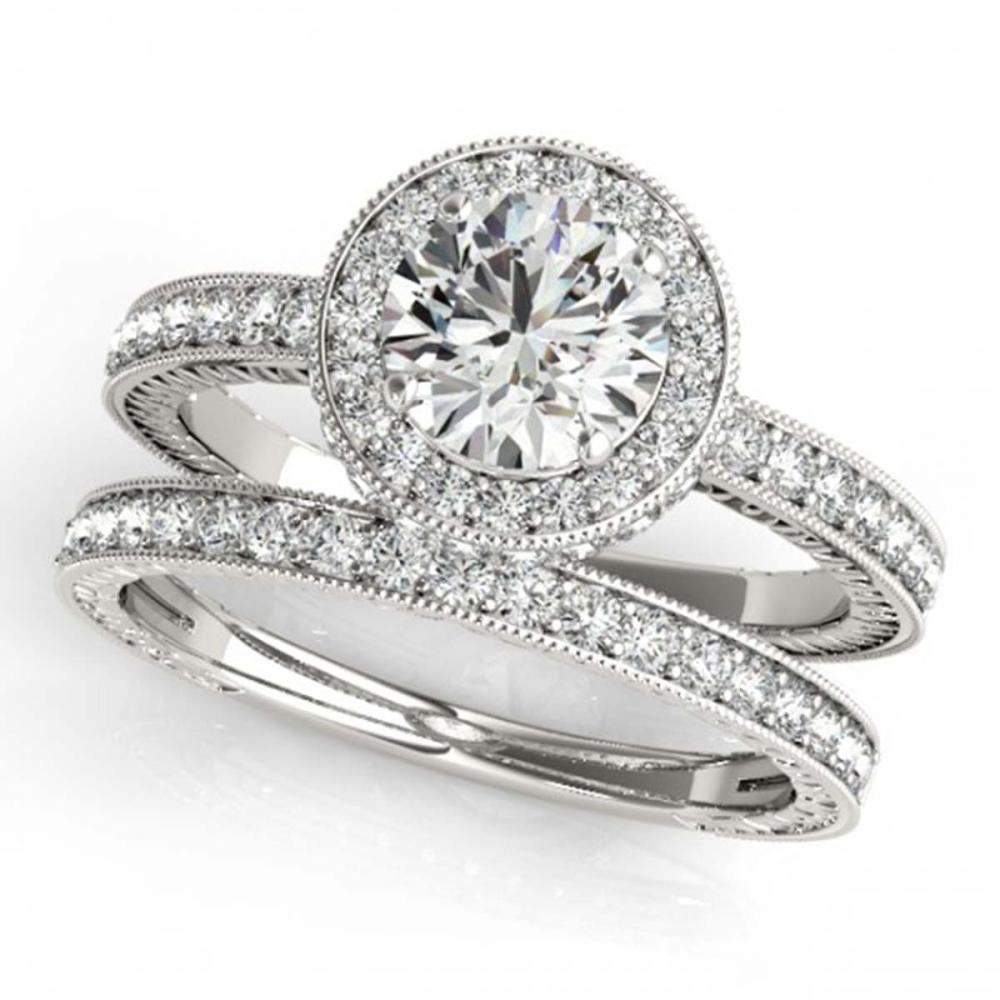 1.78 ctw VS/SI Diamond 2pc Wedding Set Halo 14K White Gold - REF-308F5N - SKU:31253