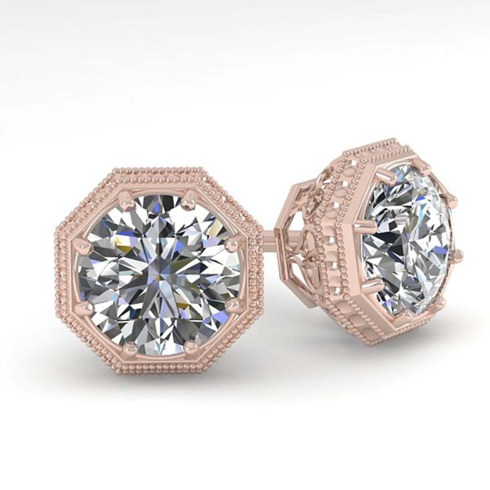 1.53 ctw VS/SI Diamond Stud Earrings 18K Rose Gold - REF-316K7W - SKU:35969