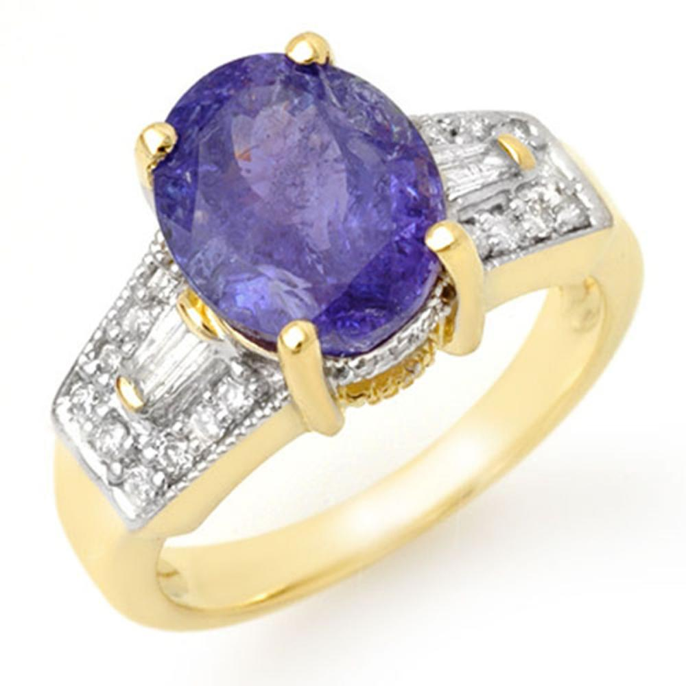 5.55 ctw Tanzanite & Diamond Ring 10K Yellow Gold - REF-144X7R - SKU:11693