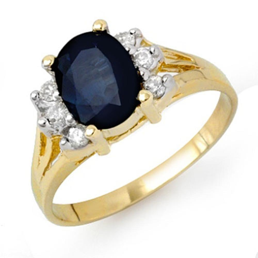 2.14 ctw Blue Sapphire & Diamond Ring 14K Yellow Gold - REF-41Y8X - SKU:13912