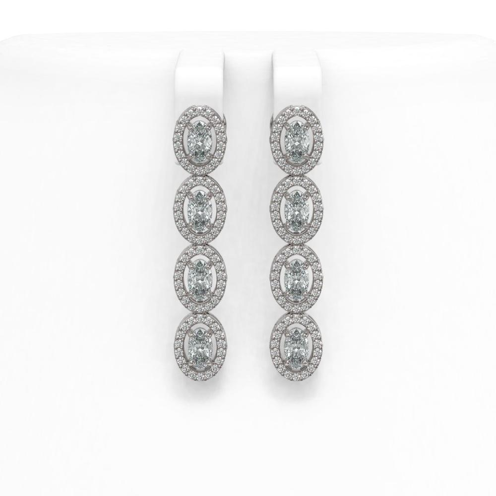4.52 ctw Oval Diamond Earrings 18K White Gold - REF-381M7F - SKU:43016