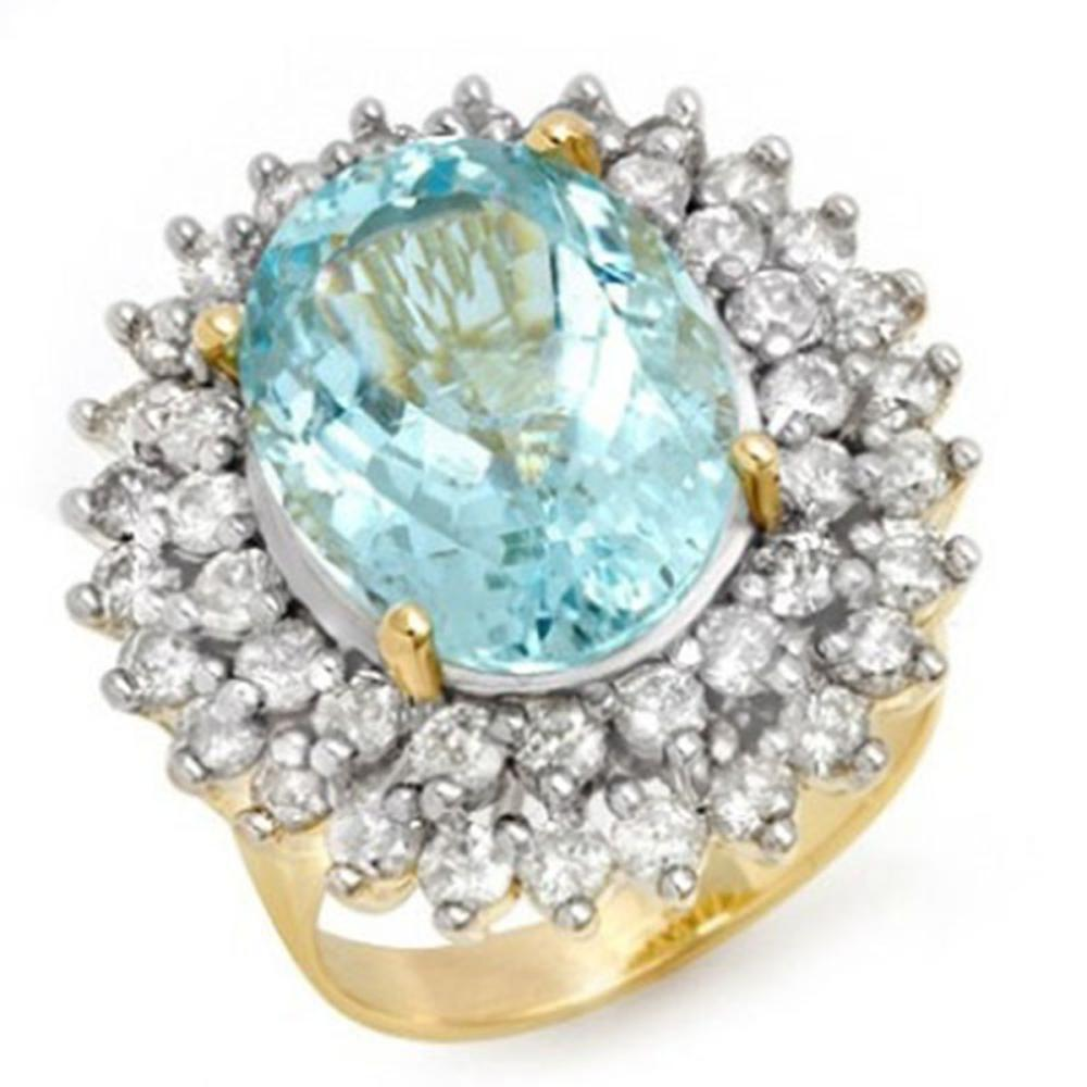 10.50 ctw Aquamarine & Diamond Ring 14K Yellow Gold - REF-272R4K - SKU:14382