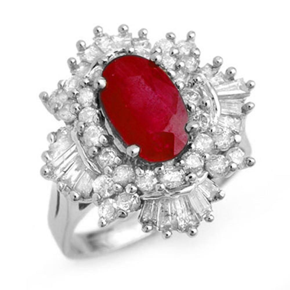 4.70 ctw Ruby & Diamond Ring 18K White Gold - REF-184K7W - SKU:13323