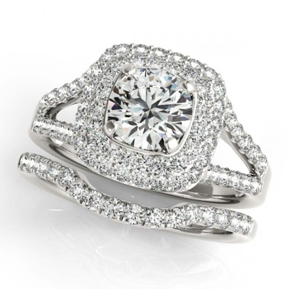 1.72 ctw VS/SI Diamond 2pc Wedding Set Halo 14K White Gold - REF-182A6V - SKU:30906
