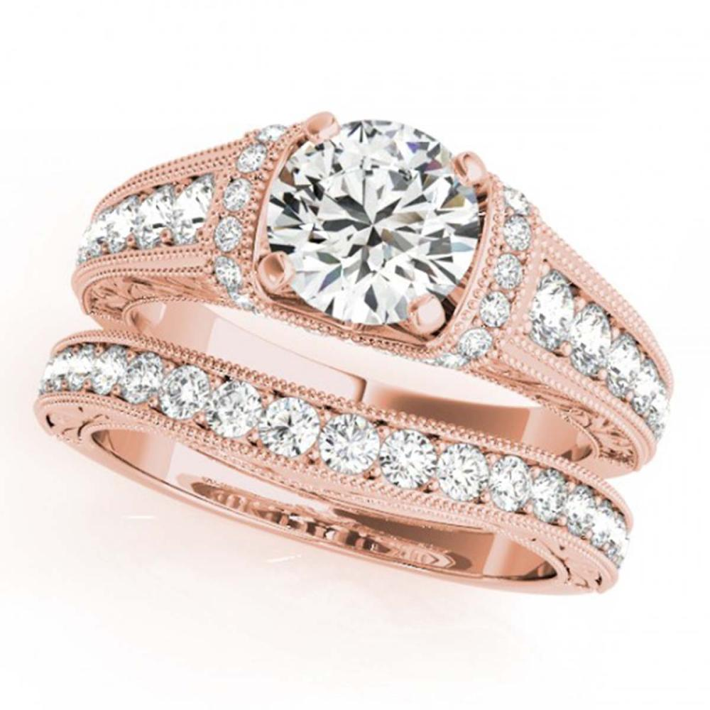 1.61 ctw VS/SI Diamond 2pc Wedding Set 14K Rose Gold - REF-178R6K - SKU:31548
