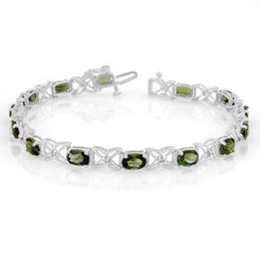 8.15 ctw Green Tourmaline & Diamond Bracelet 14K White Gold - REF-127V3Y - SKU:11261