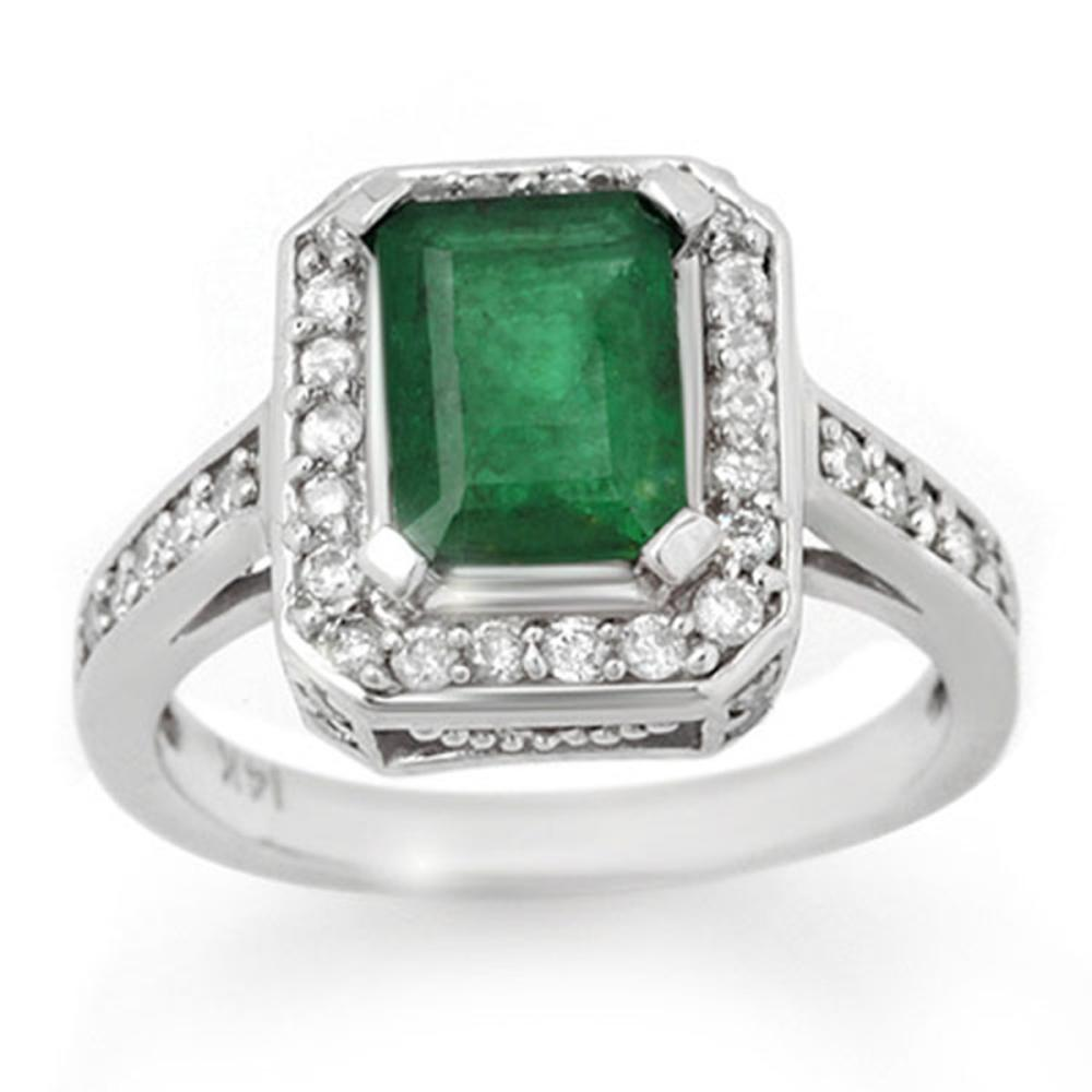 2.0 ctw Emerald & Diamond Ring 14K White Gold - REF-70F9N - SKU:10712