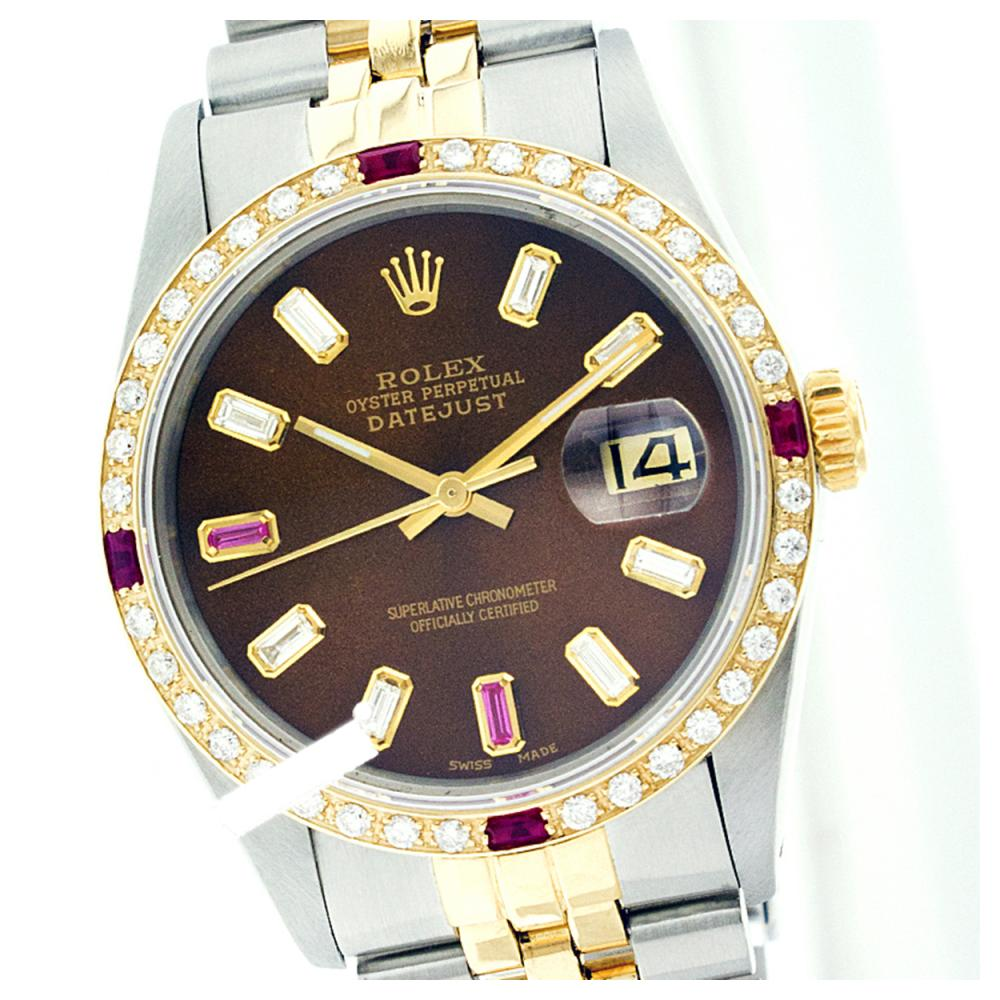 Rolex Men's Two Tone 14K Gold/SS, QuickSet, Diam/Ruby Dial & Diam/Ruby Bezel - REF-557H2W