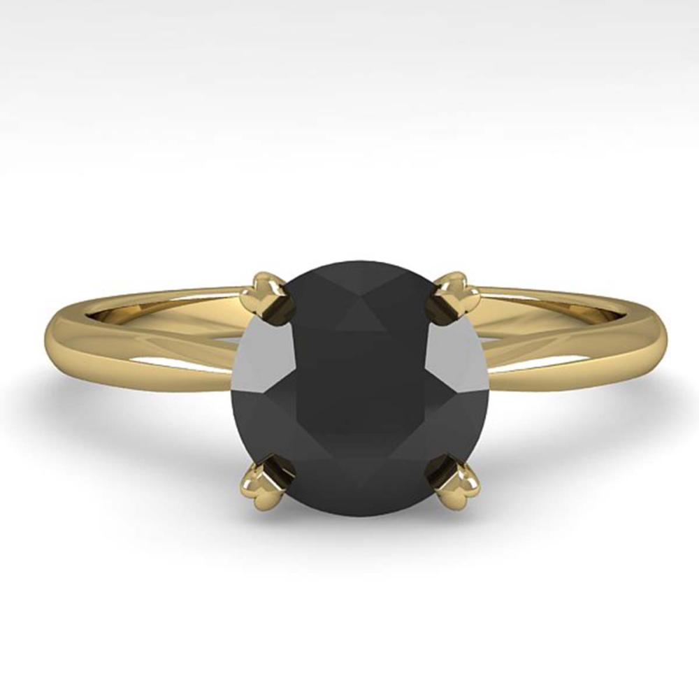1.50 ctw Black Diamond Ring 14K Yellow Gold - REF-48R2K - SKU:38471
