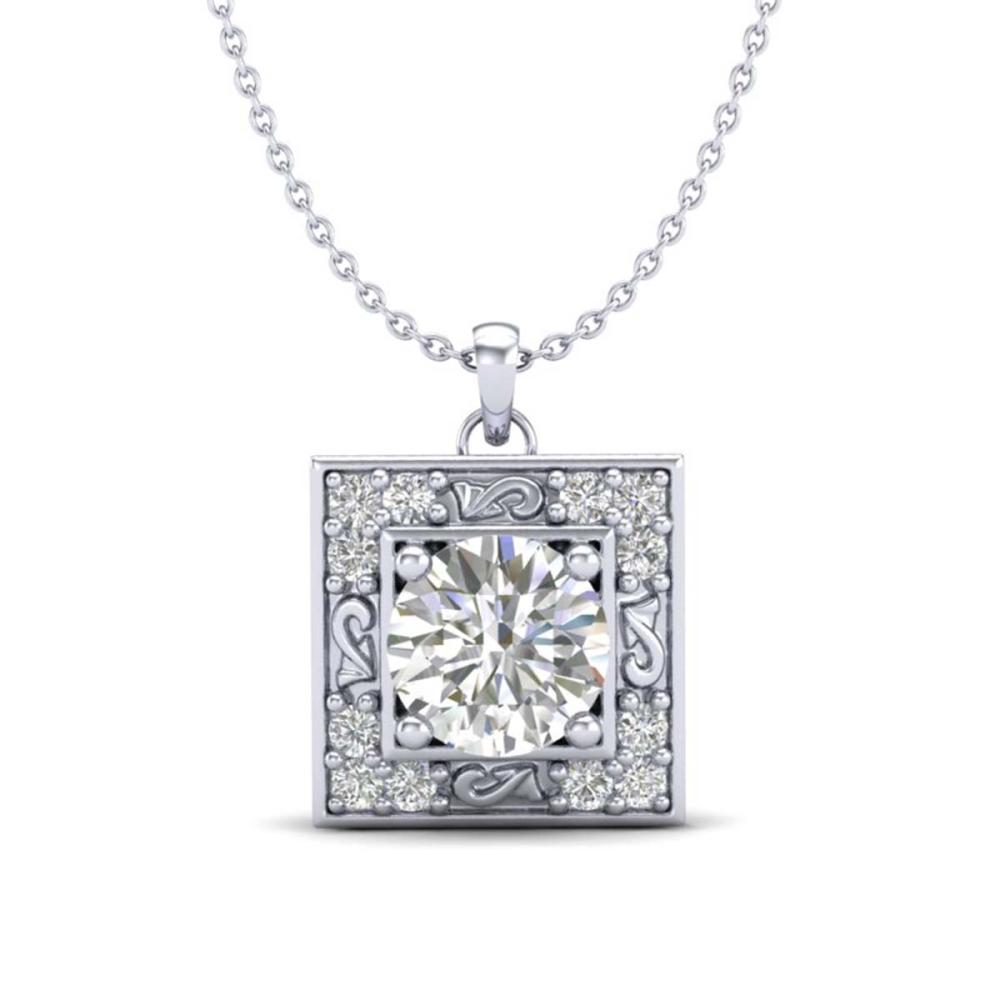 1.02 ctw VS/SI Diamond Solitaire Art Deco Necklace 18K White Gold - REF-200H2M - SKU:37271