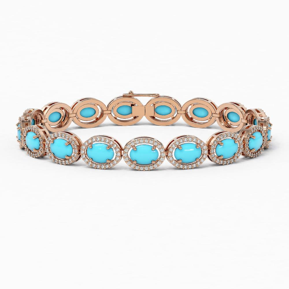 15.83 ctw Turquoise & Diamond Halo Bracelet 10K Rose Gold - REF-260X7R - SKU:46017