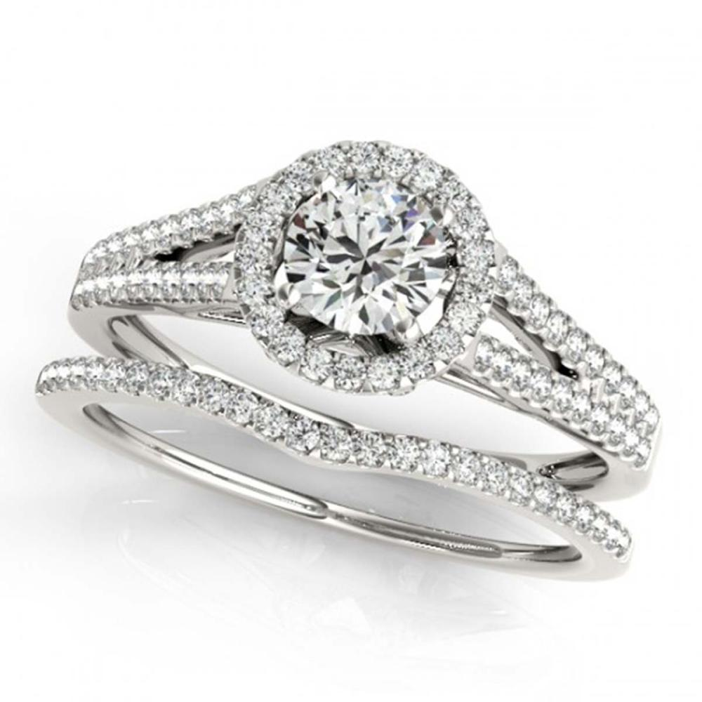 1.46 ctw VS/SI Diamond 2pc Wedding Set Halo 14K White Gold - REF-287A4V - SKU:31043