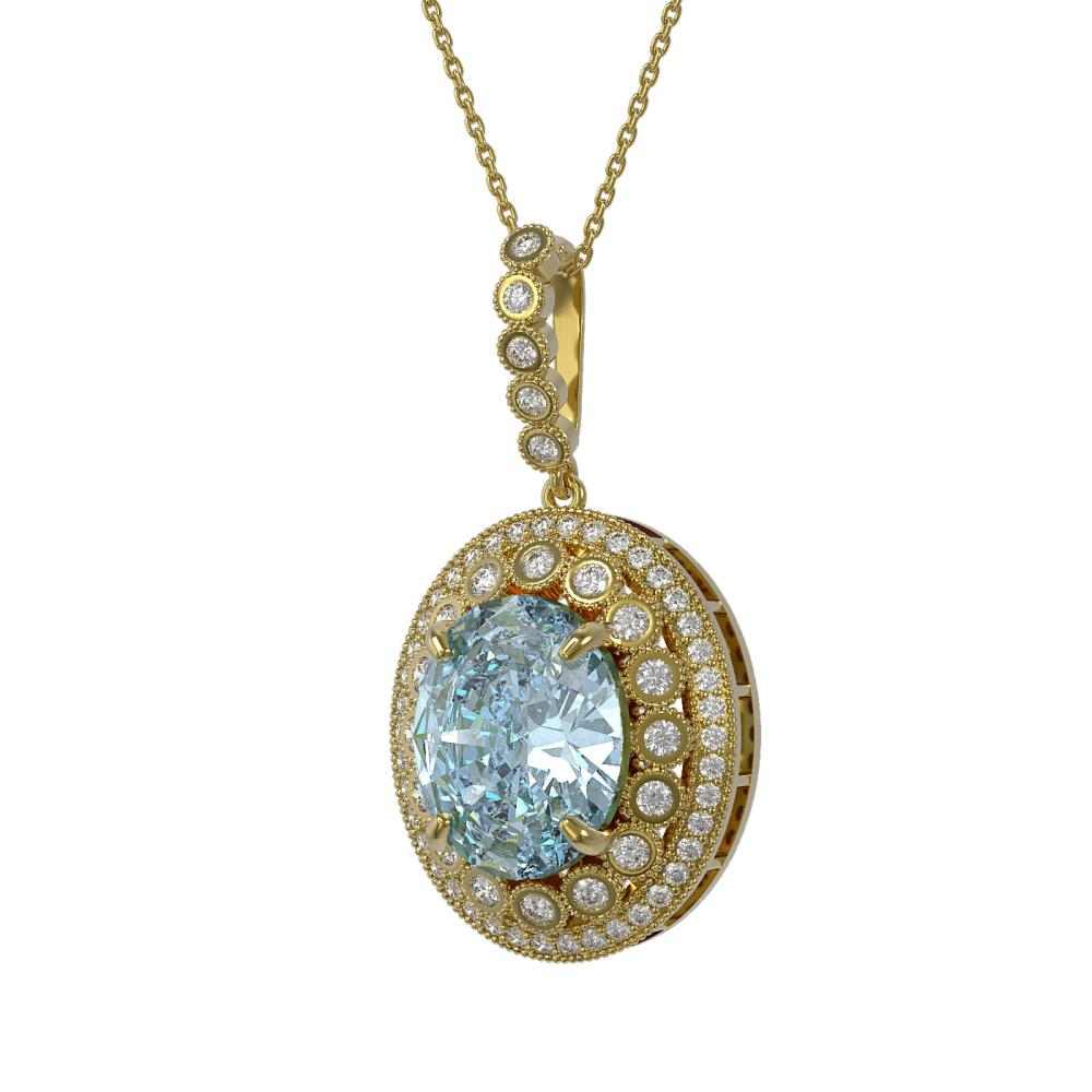 16.72 ctw Sky Topaz & Diamond Necklace 14K Yellow Gold - REF-221R3K - SKU:43870