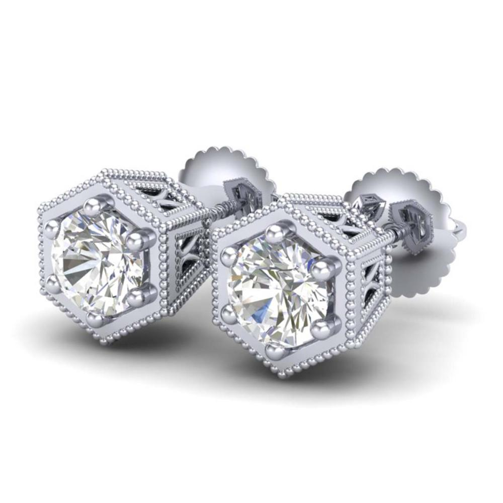 1.15 ctw VS/SI Diamond Solitaire Art Deco Stud Earrings 18K White Gold - REF-174R5K - SKU:37217