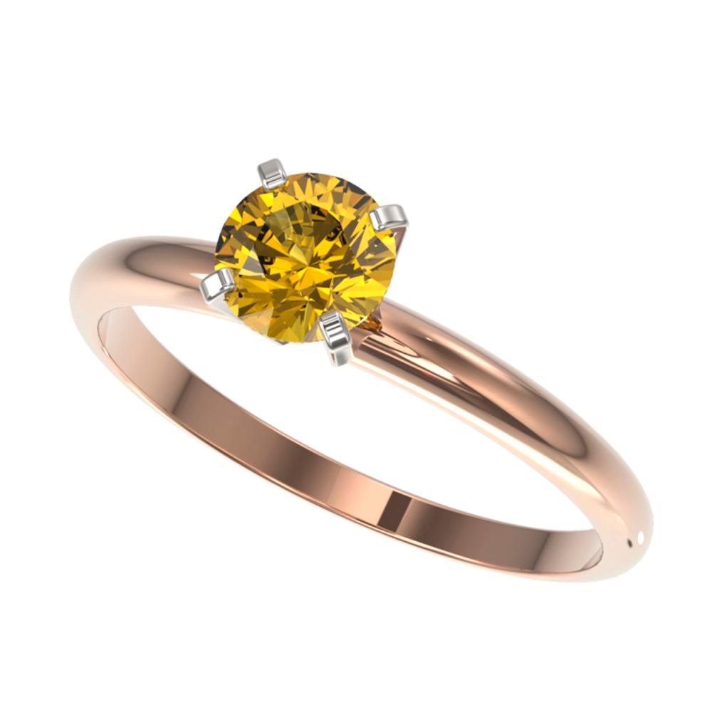 0.75 ctw Intense Yellow Diamond Ring 10K Rose Gold - REF-97K5W - SKU:32883