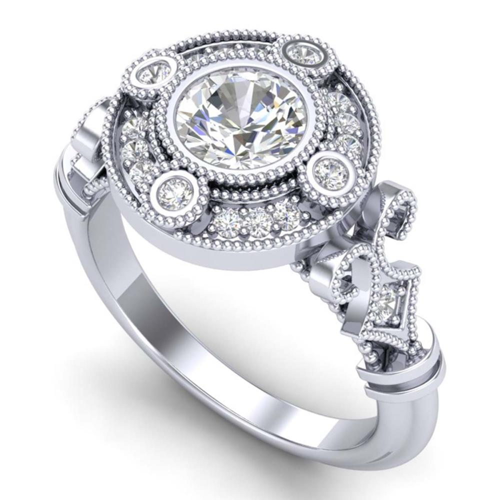 1.12 ctw VS/SI Diamond Art Deco Ring 18K White Gold - REF-250W2H - SKU:36977