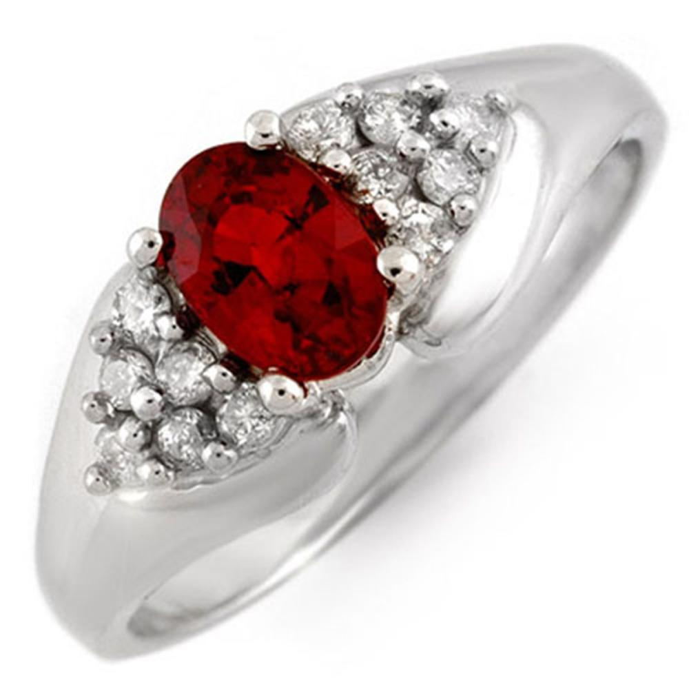0.90 ctw Red Sapphire & Diamond Ring 14K White Gold - REF-34F5N - SKU:10881