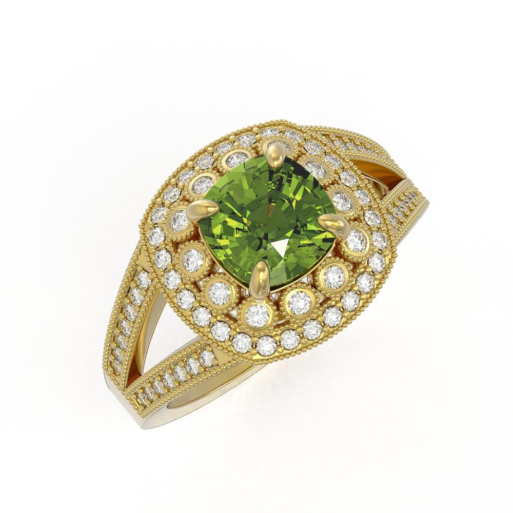 2.39 ctw Tourmaline & Diamond Ring 14K Yellow Gold - REF-106N5A - SKU:44044