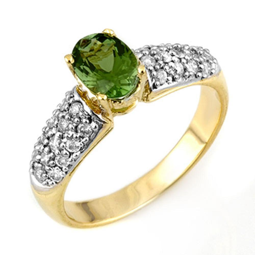 1.50 ctw Green Tourmaline & Diamond Ring 10K Yellow Gold - REF-52N7A - SKU:11043