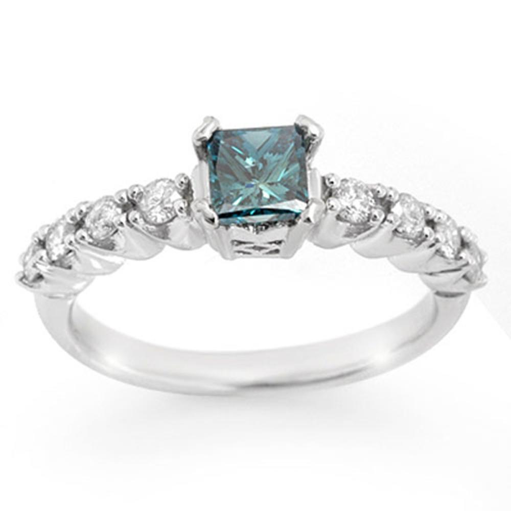 0.90 ctw Blue & White Diamond Ring 14K White Gold - REF-167W6H - SKU:11642