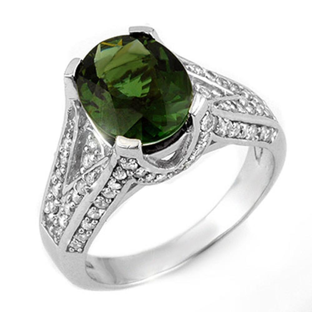 4.55 ctw Green Tourmaline & Diamond Ring 14K White Gold - REF-141V8Y - SKU:11606