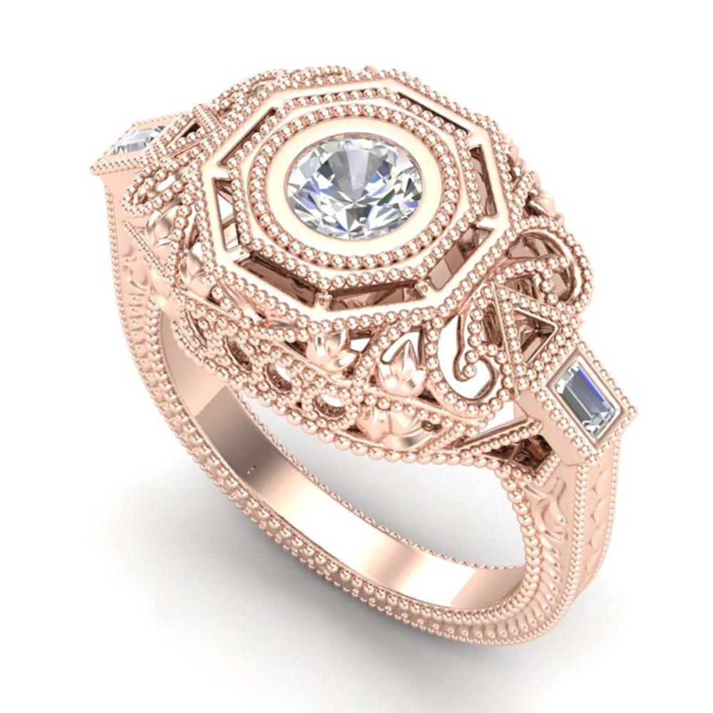 0.75 ctw VS/SI Diamond Solitaire Art Deco Ring 18K Rose Gold - REF-200H2M - SKU:37044