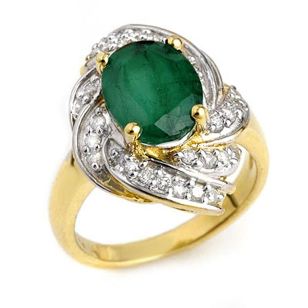 3.29 ctw Emerald & Diamond Ring 14K Yellow Gold - REF-70Y9X - SKU:13116