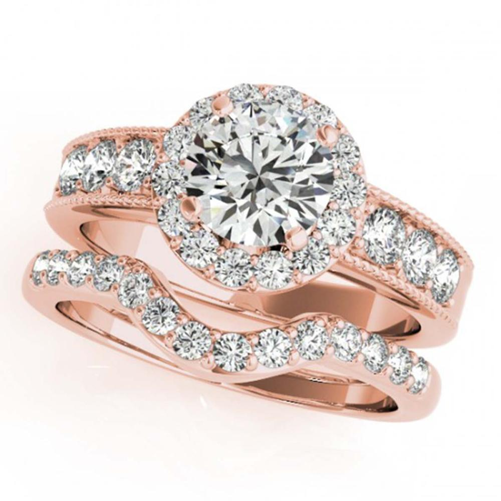 1.96 ctw VS/SI Diamond 2pc Wedding Set Halo 14K Rose Gold - REF-193K8W - SKU:31311