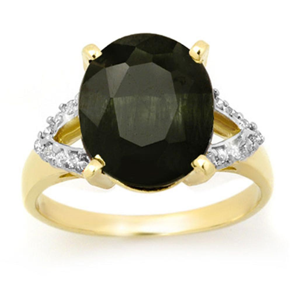 6.58 ctw Blue Sapphire & Diamond Ring 10K Yellow Gold - REF-67A6V - SKU:12719