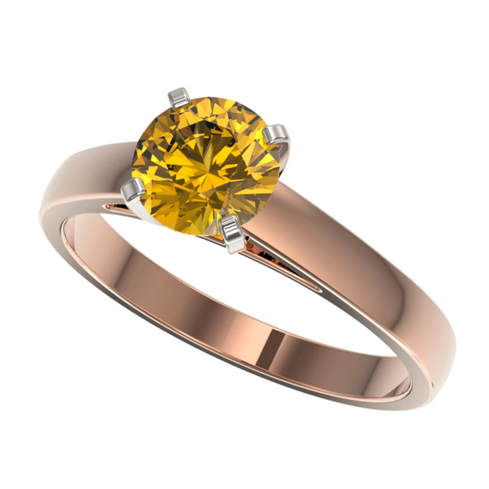 1.29 ctw Intense Yellow Diamond Solitaire Ring 10K Rose Gold - REF-255V2Y - SKU:36544