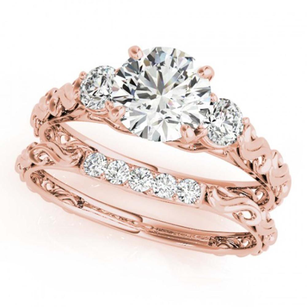 1.39 ctw VS/SI Diamond 3 Stone 2pc Wedding Set 14K Rose Gold - REF-276R2K - SKU:32055