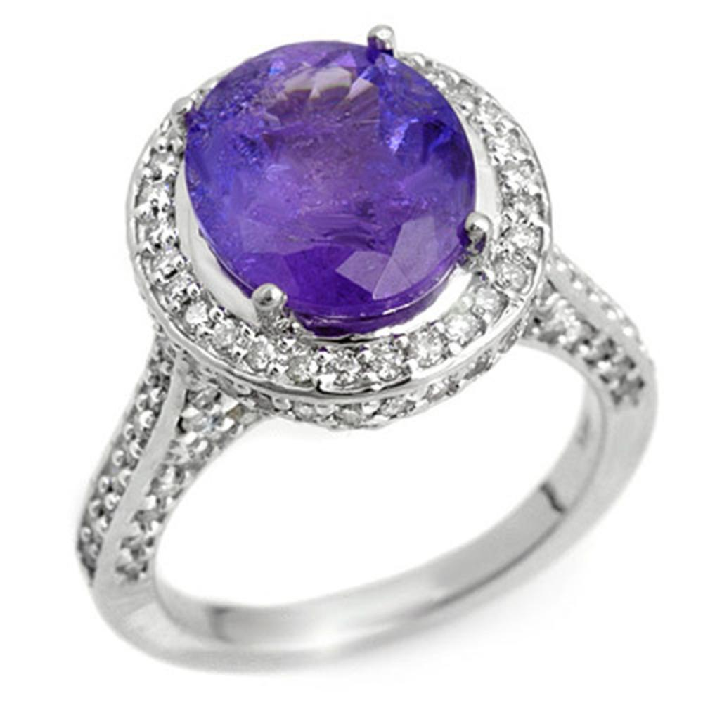 6.25 ctw Tanzanite & Diamond Ring 14K White Gold - REF-246A7V - SKU:10493
