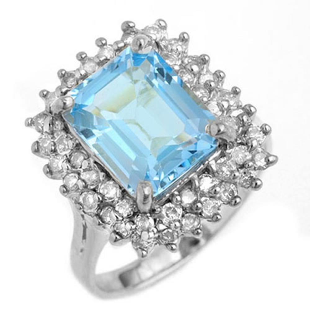 5.10 ctw Blue Topaz & Diamond Ring 18K White Gold - REF-96X7R - SKU:13202