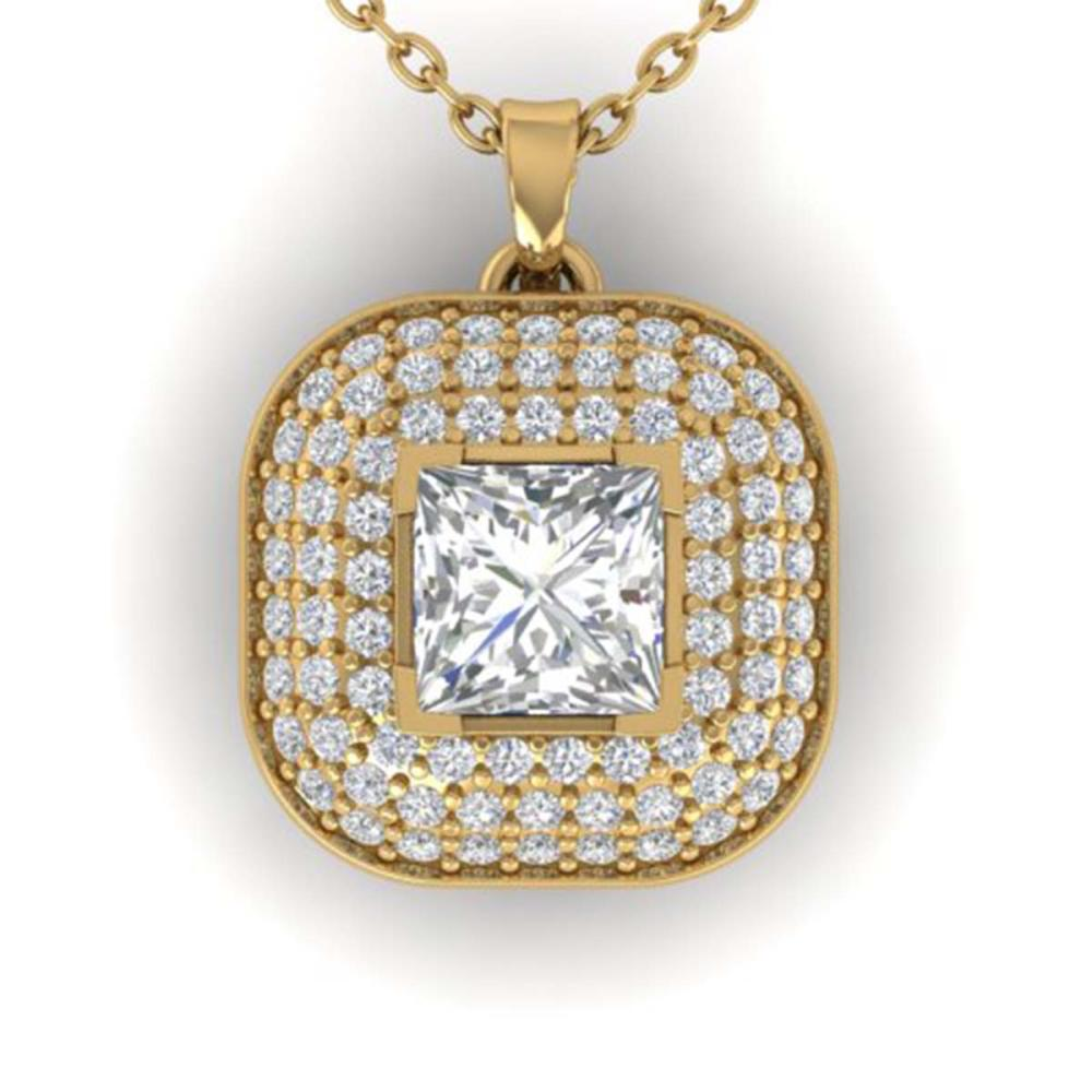 1.60 ctw Princess VS/SI Diamond Art Deco Necklace 14K Yellow Gold - REF-374A6V - SKU:30452