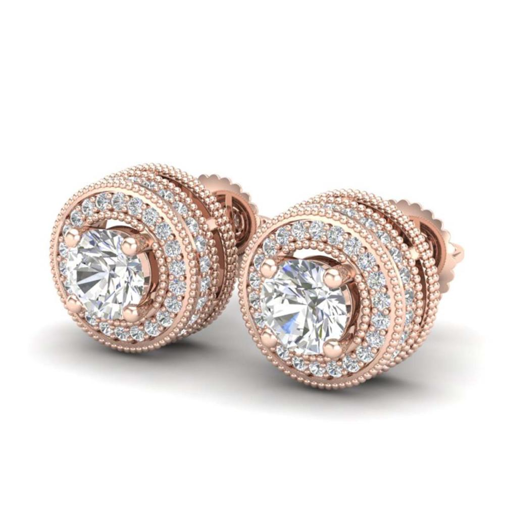 2.09 ctw VS/SI Diamond Solitaire Art Deco Stud Earrings 18K Rose Gold - REF-254X5R - SKU:37140