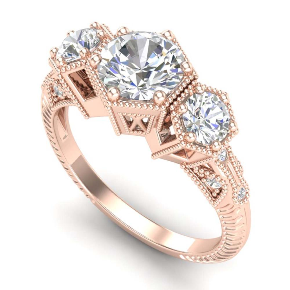 1.66 ctw VS/SI Diamond Solitaire Art Deco 3 Stone Ring 18K Rose Gold - REF-445V5Y - SKU:37224