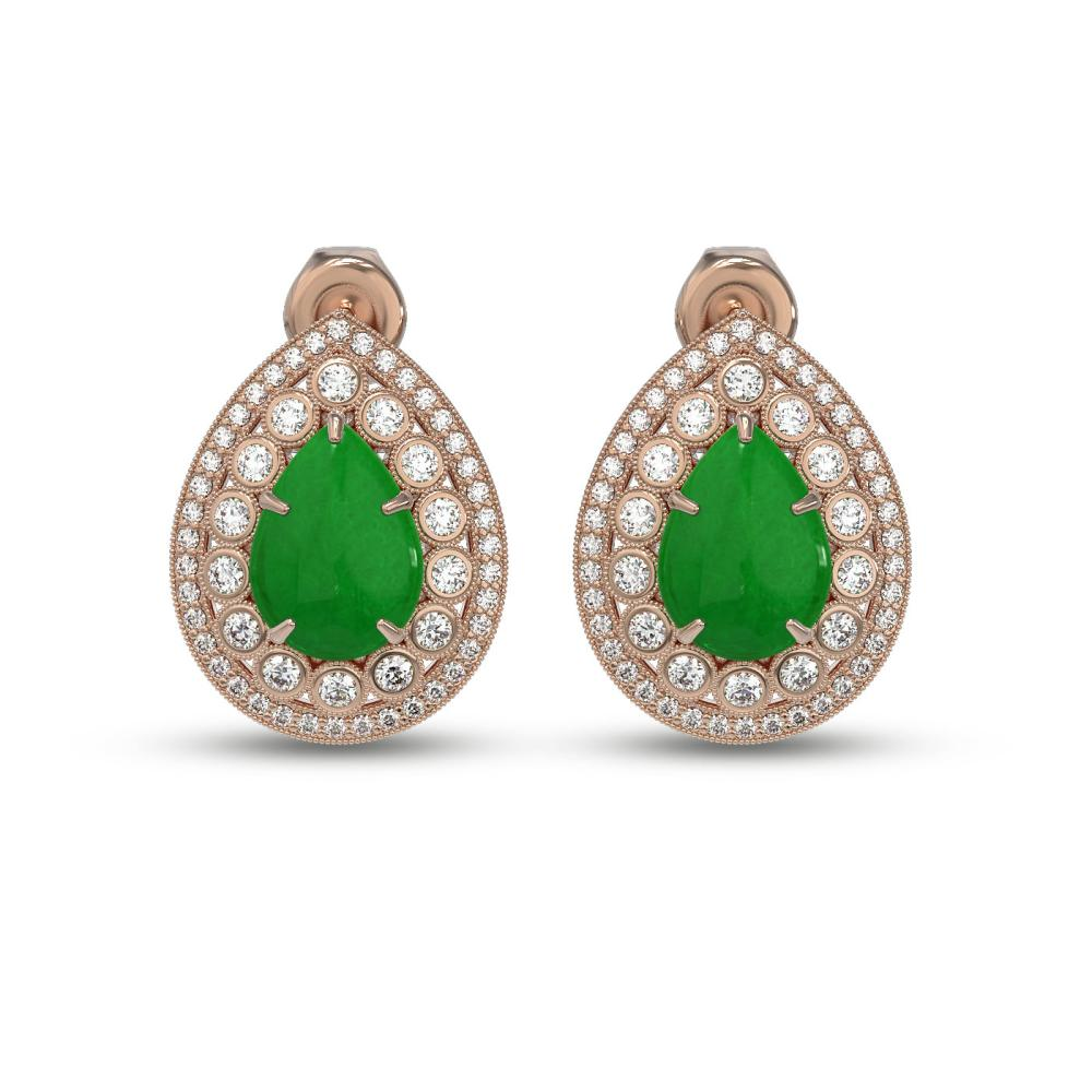 7.74 ctw Jade & Diamond Earrings 14K Rose Gold - REF-216F9N - SKU:46156