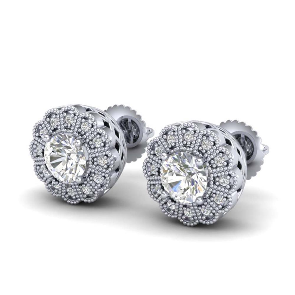 1.32 ctw VS/SI Diamond Solitaire Art Deco Stud Earrings 18K White Gold - REF-245K5W - SKU:37052