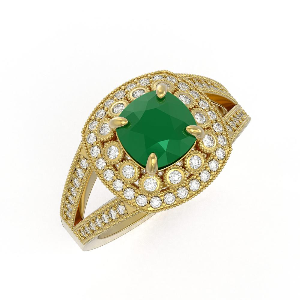 2.69 ctw Emerald & Diamond Ring 14K Yellow Gold - REF-104W9H - SKU:44026