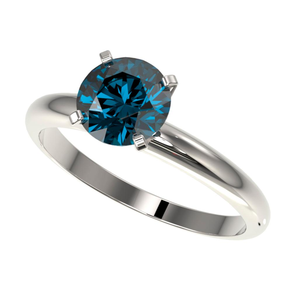 1.50 ctw Intense Blue Diamond Ring 10K White Gold - REF-180H2M - SKU:32928