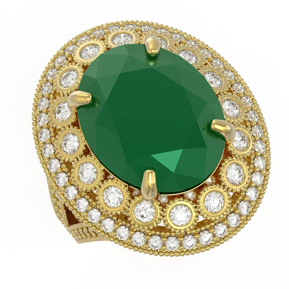 13.85 ctw Emerald & Diamond Ring 14K Yellow Gold - REF-296W7H - SKU:43846