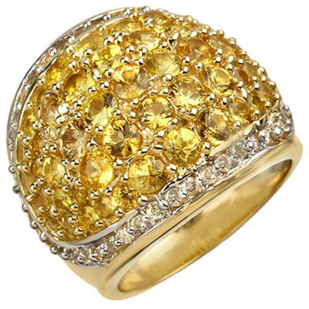 5.75 ctw Yellow Sapphire & Diamond Ring 14K Yellow Gold - REF-142R2K - SKU:10806
