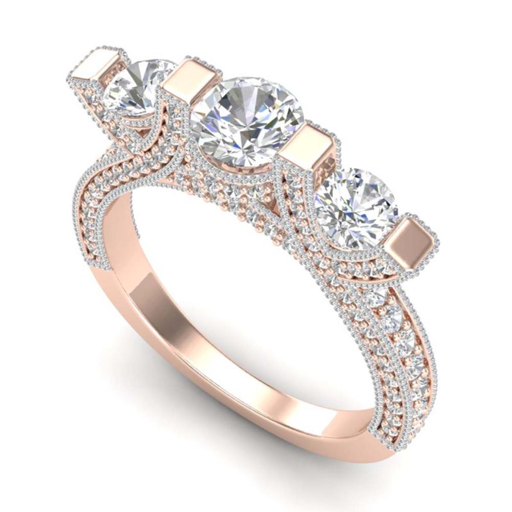 2.3 ctw VS/SI Diamond 3 Stone Ring Band 18K Rose Gold - REF-263V6Y - SKU:36957