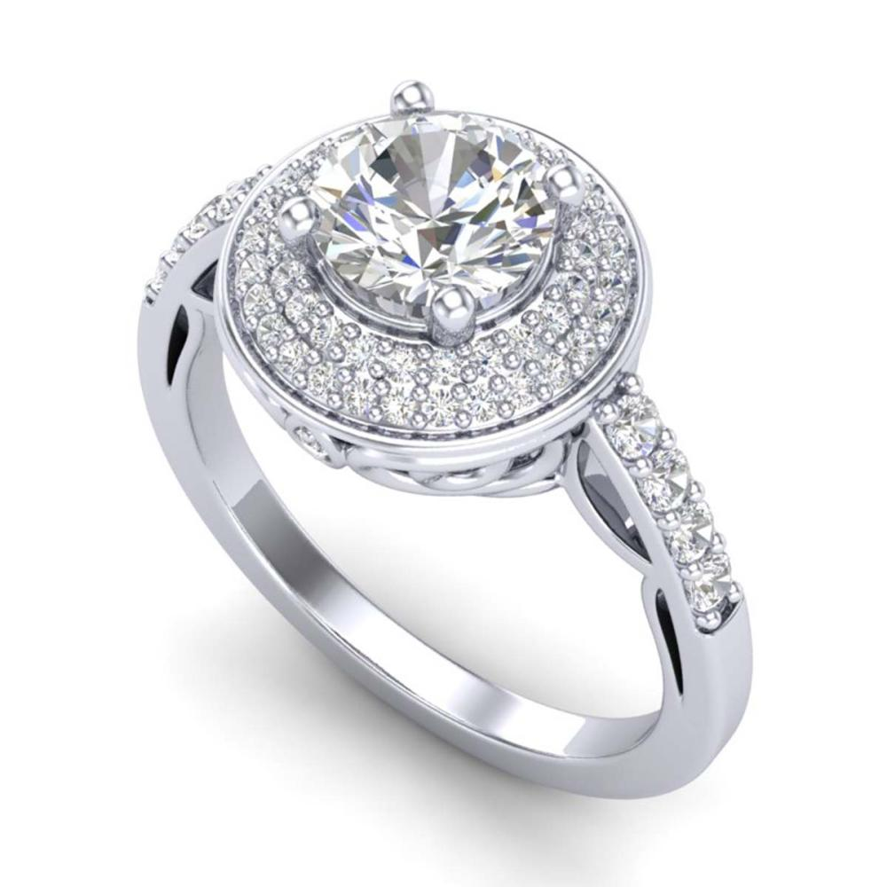 1.70 ctw VS/SI Diamond Solitaire Art Deco Ring 18K White Gold - REF-436Y4X - SKU:37253