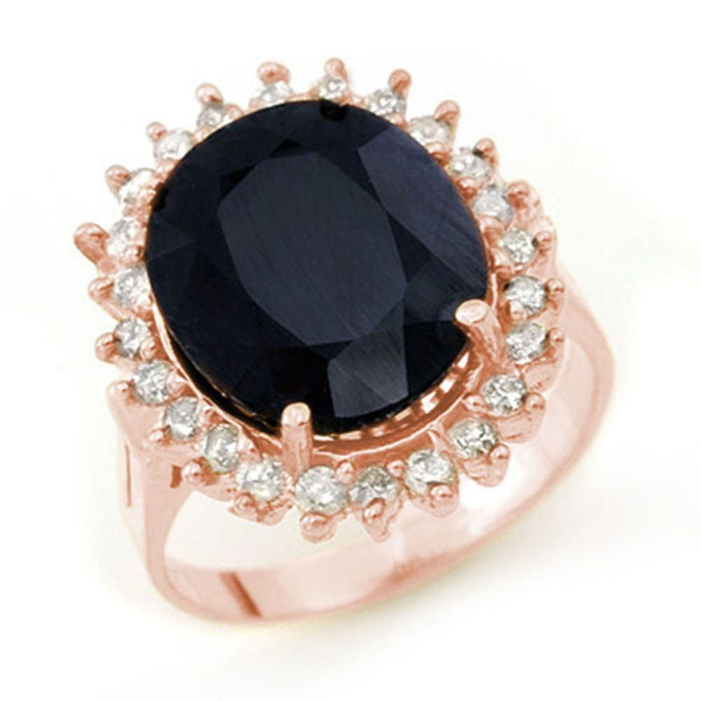 14.10 ctw Blue Sapphire & Diamond Ring 14K Rose Gold - REF-150Y9X - SKU:13111